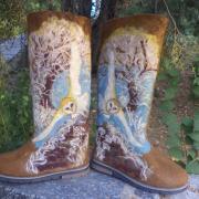 Painted felt boots